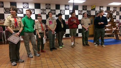 Troop 22 Scouts at Recognized for Advancement
